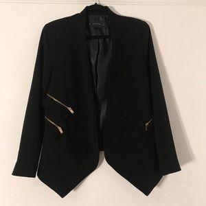 Zara collarless blazer with zippers